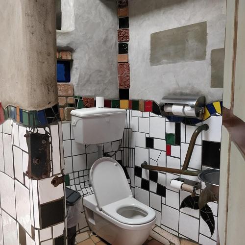 Interior toilet wall detail