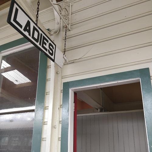 Kawakawa train station toilets minus Hundertwasser touch, New Zealand