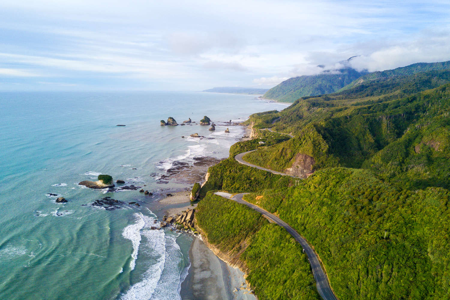Aerial view of west coast, south island, New Zealand