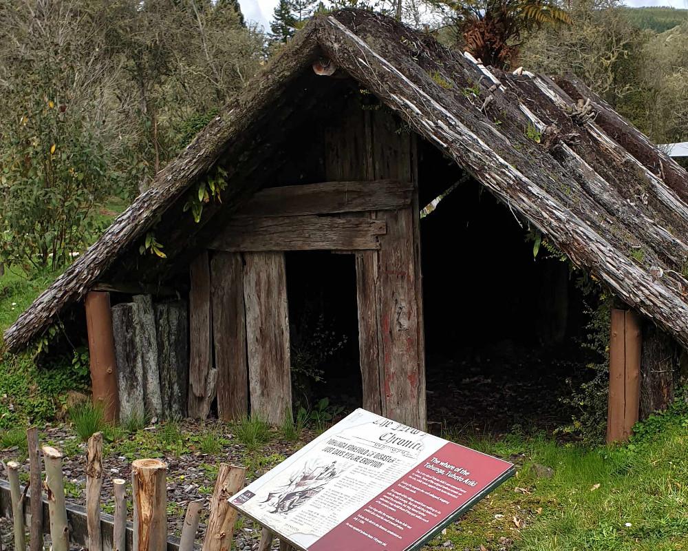 Buried village exacavted whare (Maori dwelling house), New Zealand