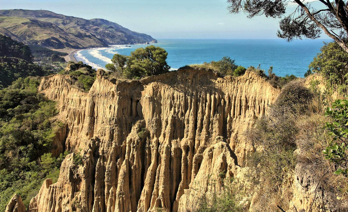 Cathedral Cliffs in Hurunui region of New Zealand. Scenic view in Gore Bay.