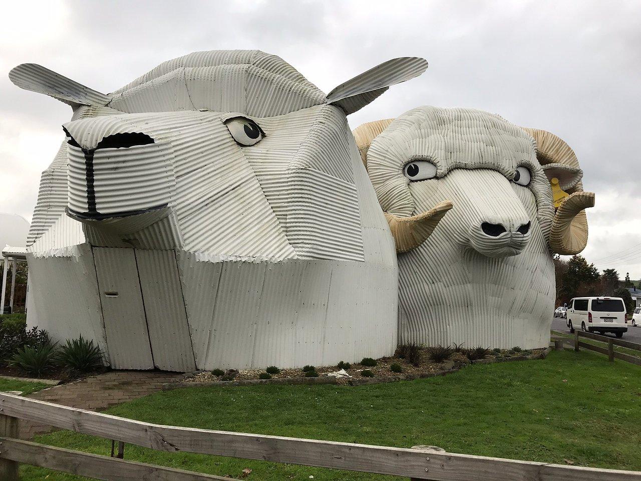 Dog and Sheep Shaped Corrugated Metal Buildings (Tirau), New Zealand @Tripadvisor