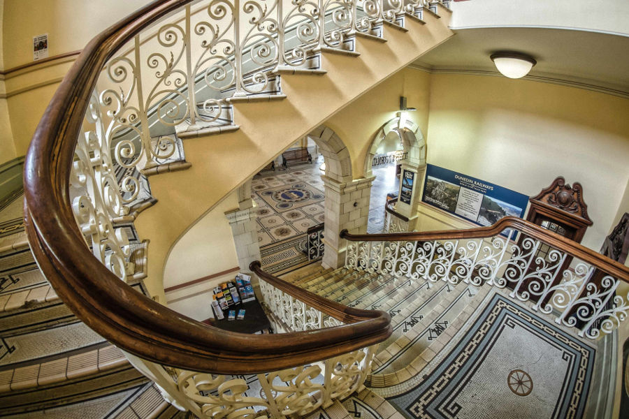 Dunedin railway station interior staircase, Dunedin, New Zealand