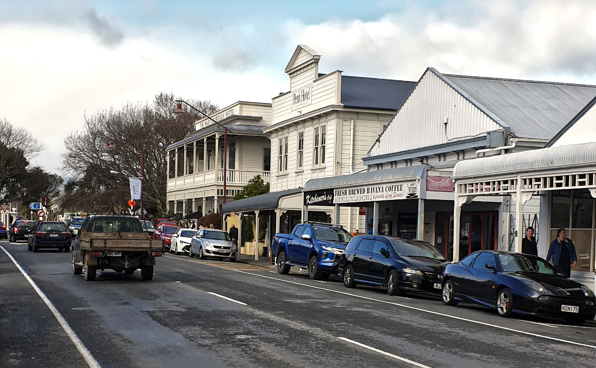 Greytown main street busy with Saturday shoppers, New Zealand