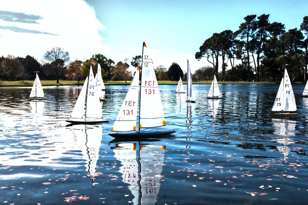 Little Hagley Park watch Saturday competitive yacht racing, Christchurch, New Zealand