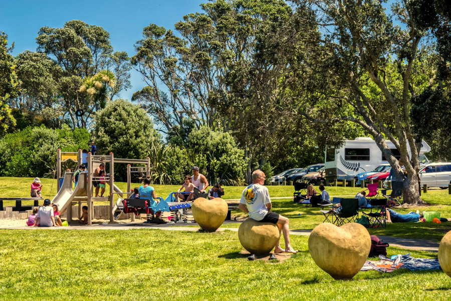Long Bay Regional Park Auckland playground and carpark, New Zealand