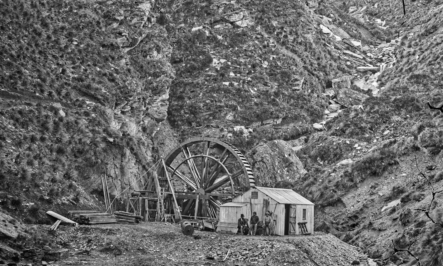 Macetown Maryboro Battery near Macetown, Southland, 1876-1880, Clutha-Central Otago, by William Hart, Hart, Campbell _ Co. Te Papa