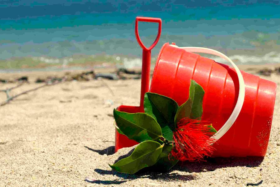 Pohutukawa Coast bucket and flowers, ready to go, New Zealand