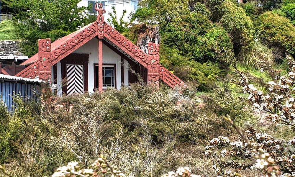 Ringatu Marae quietly slumbering in the depths of Ohinemutu Village, New Zealand