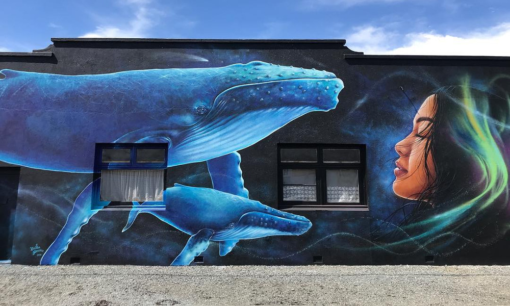Riverton street art whale mural,New Zealand