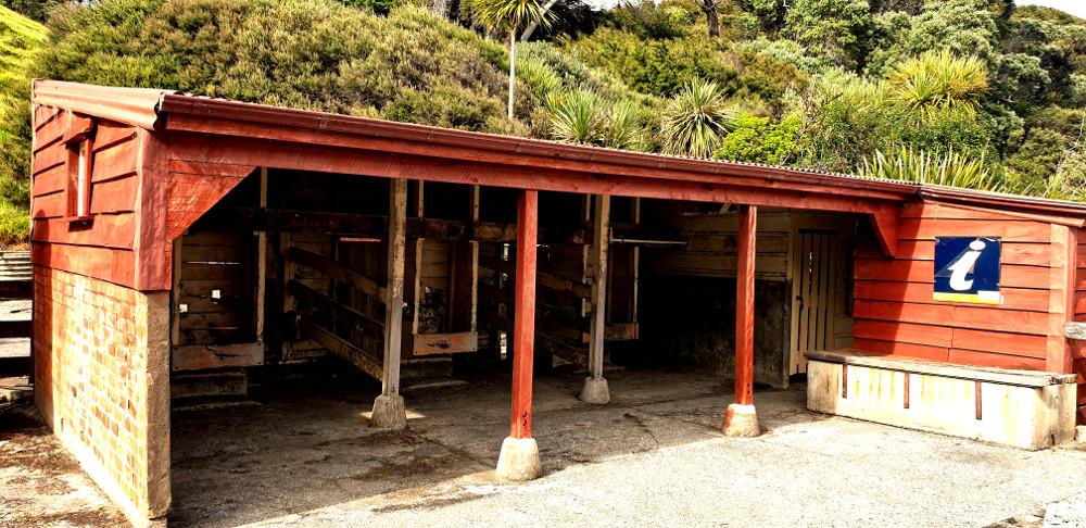 Scandrett Regional Park historic cow milking shed, New Zealand