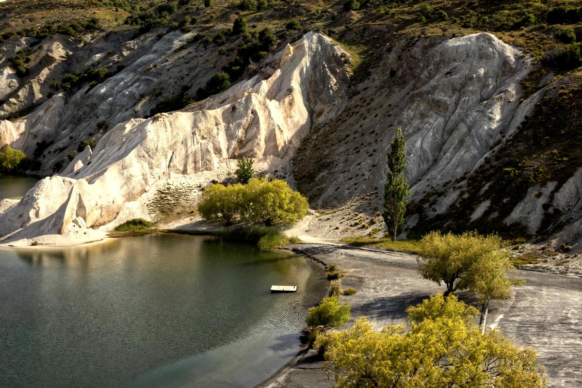 St Bathans Blue Lake boat ramp Otago, New Zealand