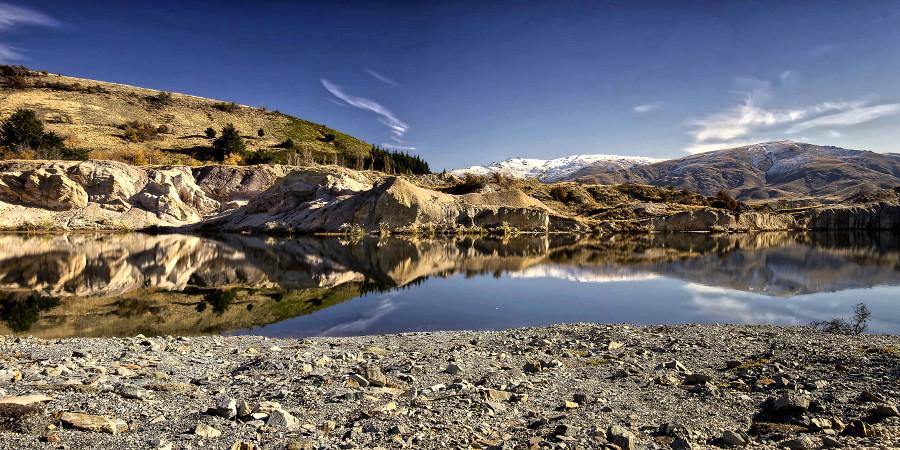 St Bathans Blue Lake, gold mining tailings Otago, New Zealand