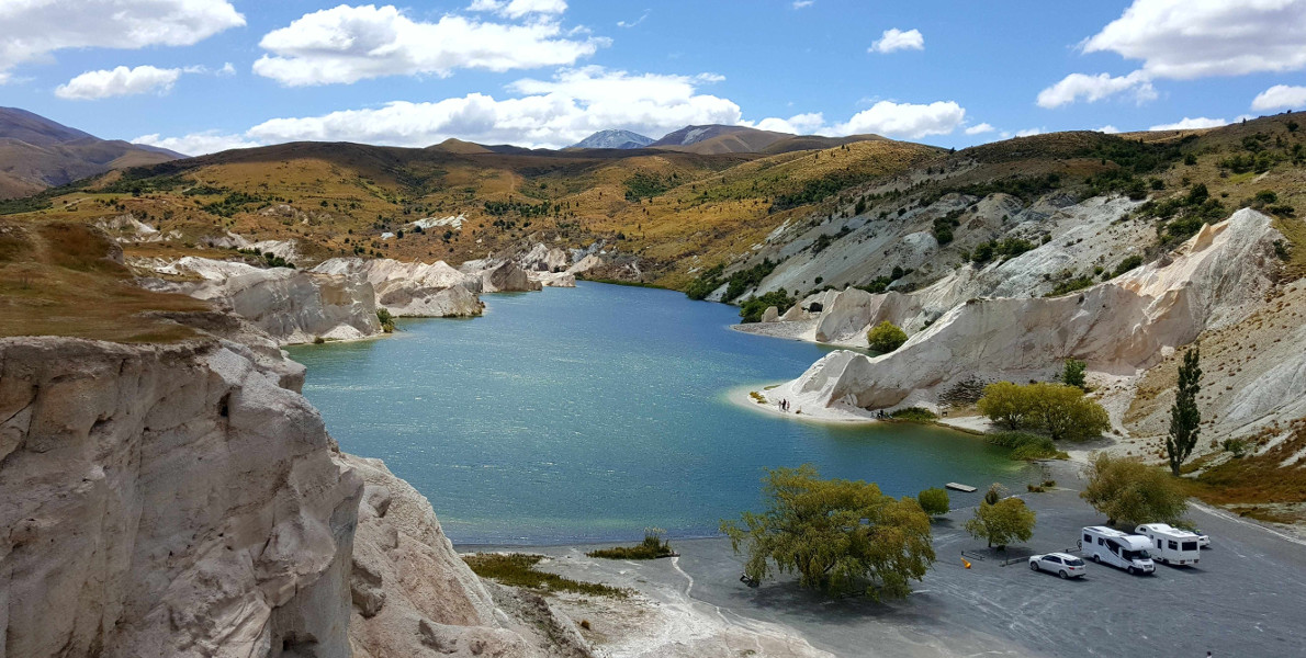 St Bathans Blue Lake result of gold mining Otago, New Zealand