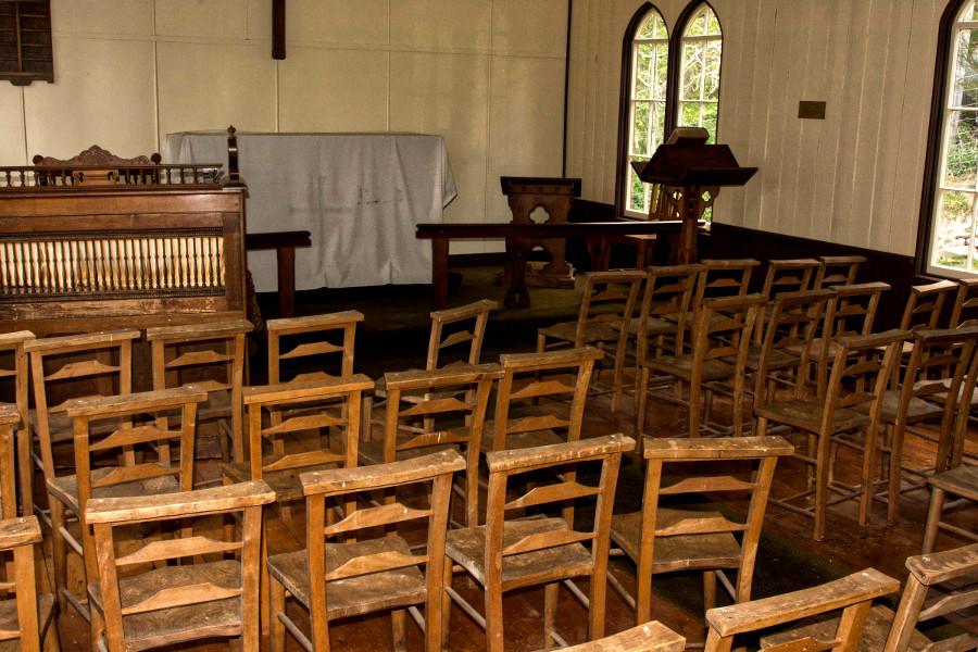 St Bathans church interior, Otago, New Zealand