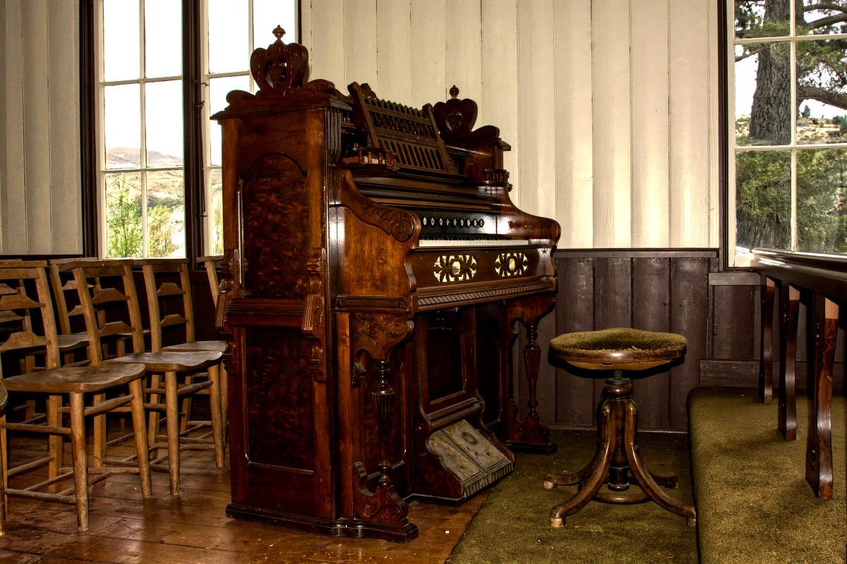 St Bathans church interior, organ, Otago, New Zealand