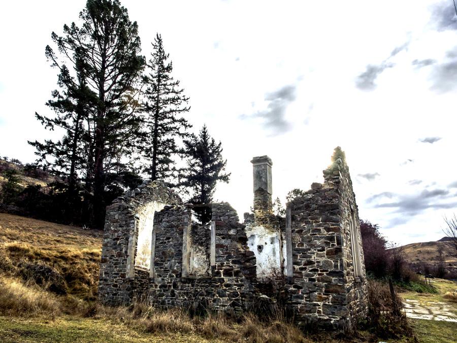 St Bathans ruins of former school building Otago, New Zealand