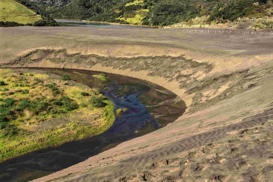 Black sand dunes above lake Wainamu, West Auckland, New Zealand