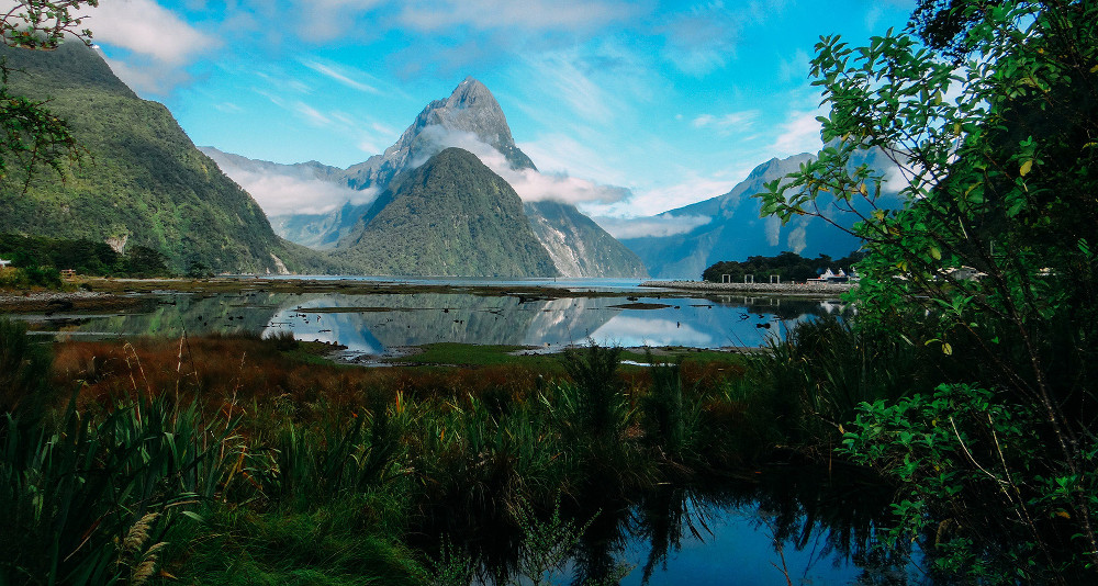 The Mirror Lakes on a Cloudy Day, New Zealand @Milford Sound