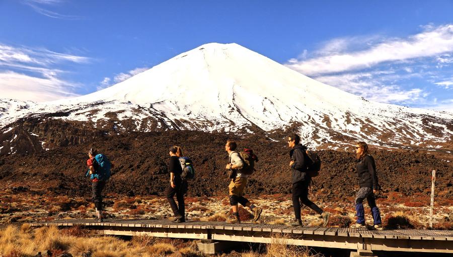 Tongariro crossing in winter, mount Ngauruhoe, the great walk, New Zealand, Tonagriro National park