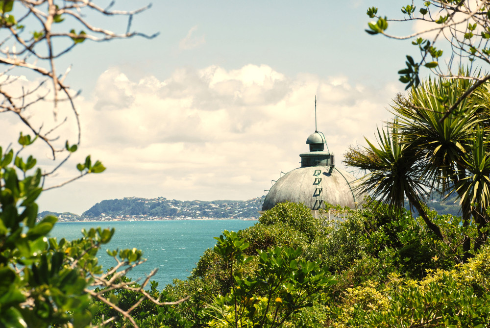 Top of lighthouse on Matiu Somes Island overlooking harbour, Somes Island, New Zealand