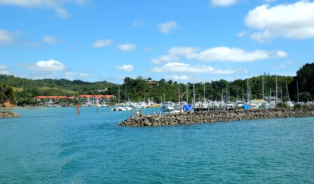 Tutukaka marina from the water, New Zealand