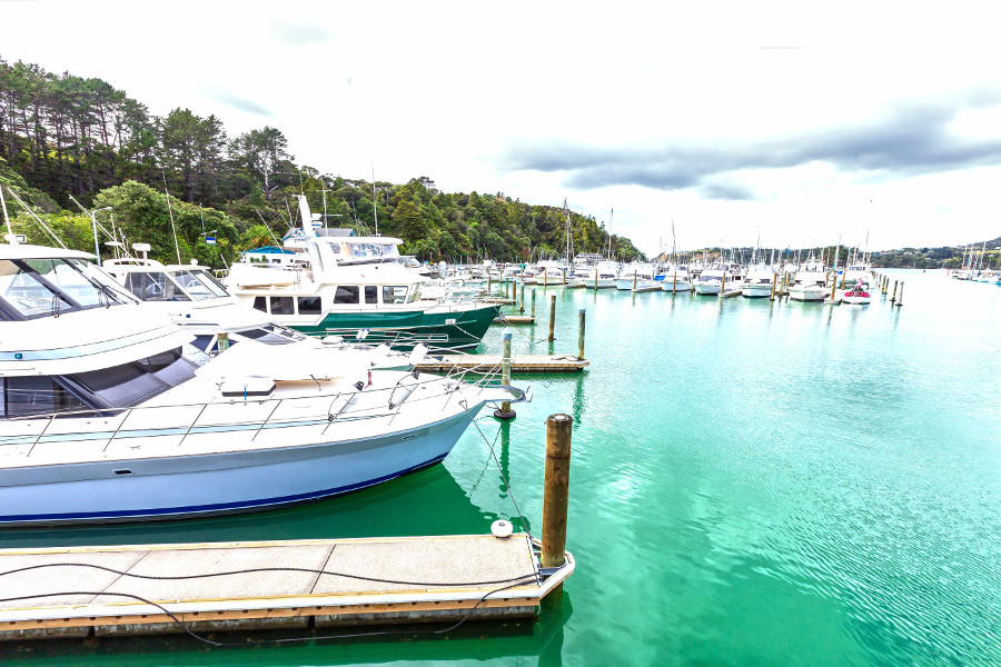 Tutukaka is the base for boat tours for diving and snorkelling around the Poor Knights Islands, Tutukaka Marina, New Zealand