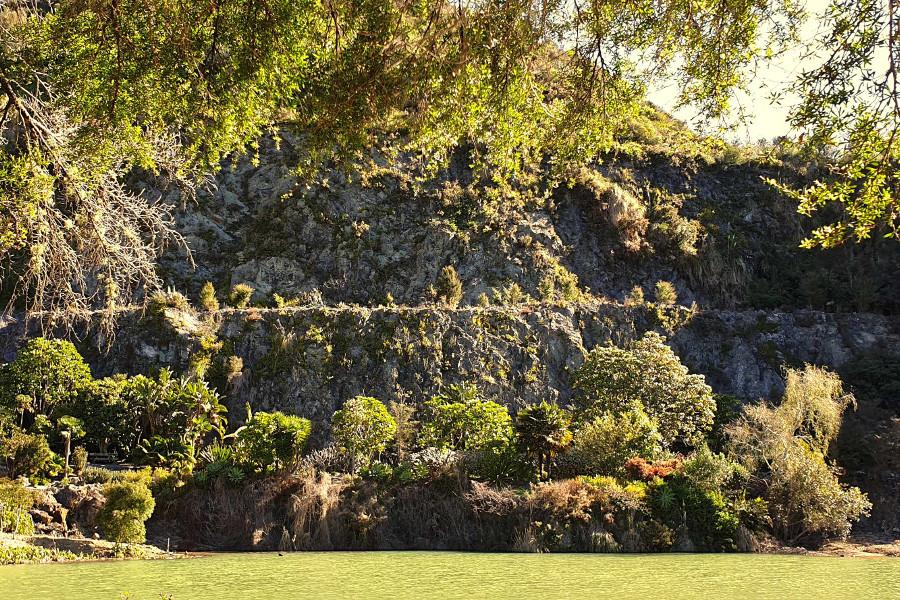 Whangarei Quarry Garden quarry walls effective statement of past life, New Zealand