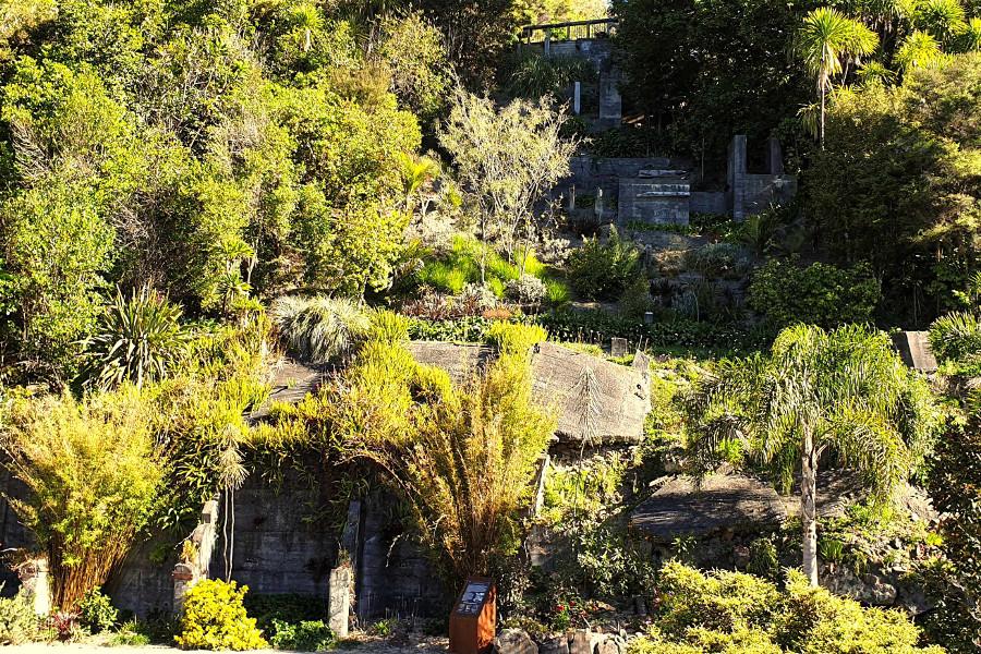 Whangarei Quarry Garden visible quarry concrete remains, New Zealand