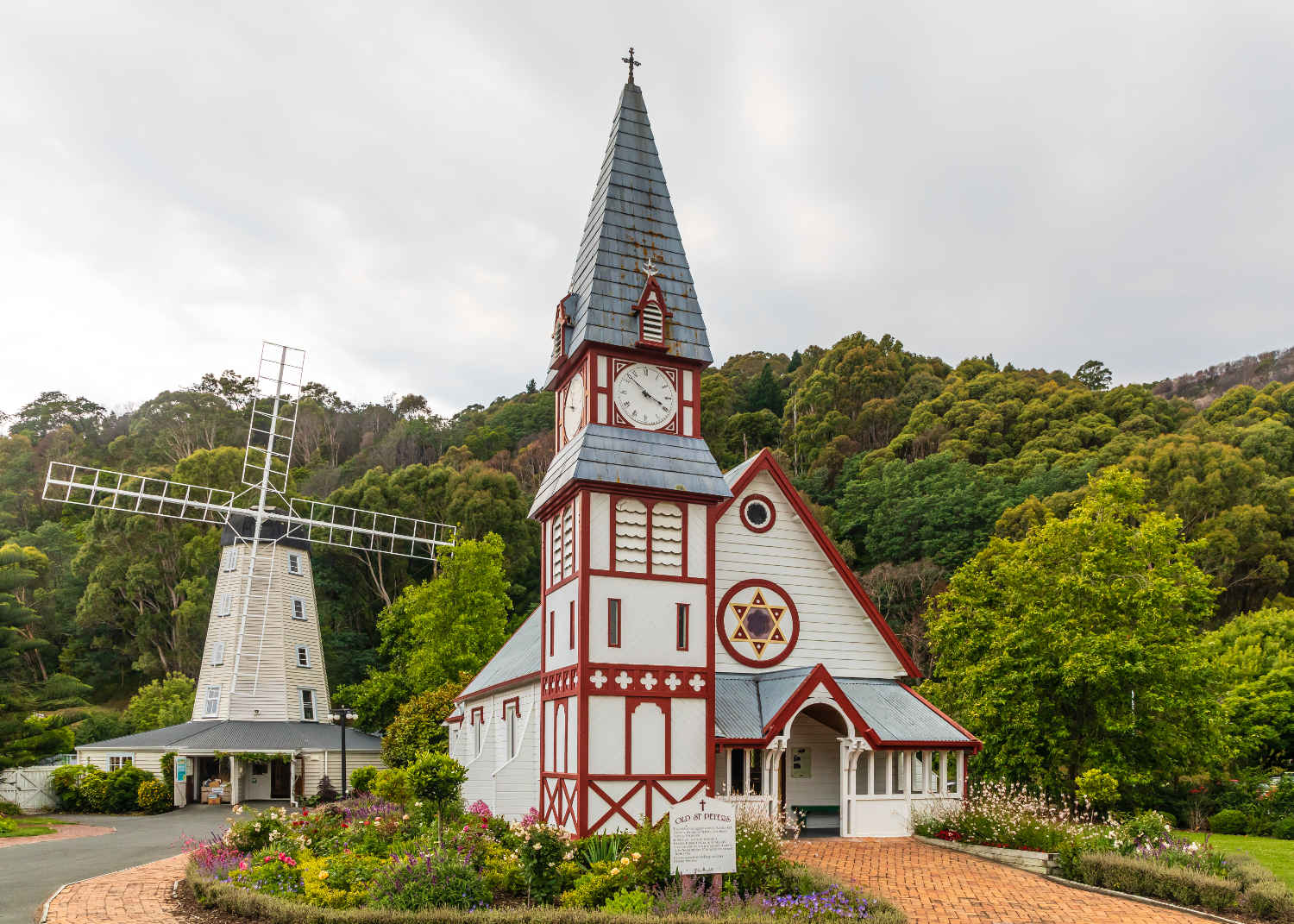 Old St Peter's-by-the-Strand Church served the Anglicans of the Atawhai area of Nelson from 1874-1983, when it was moved to Founders Park, Nelson,New Zealand