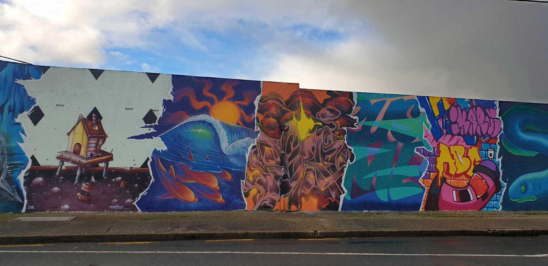 Riverton street art mural,New Zealand