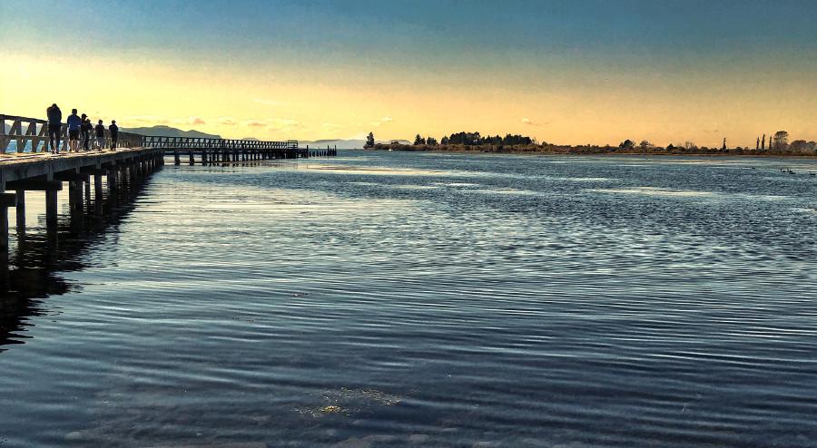 Tokaanu wharf at sunset, New Zealand