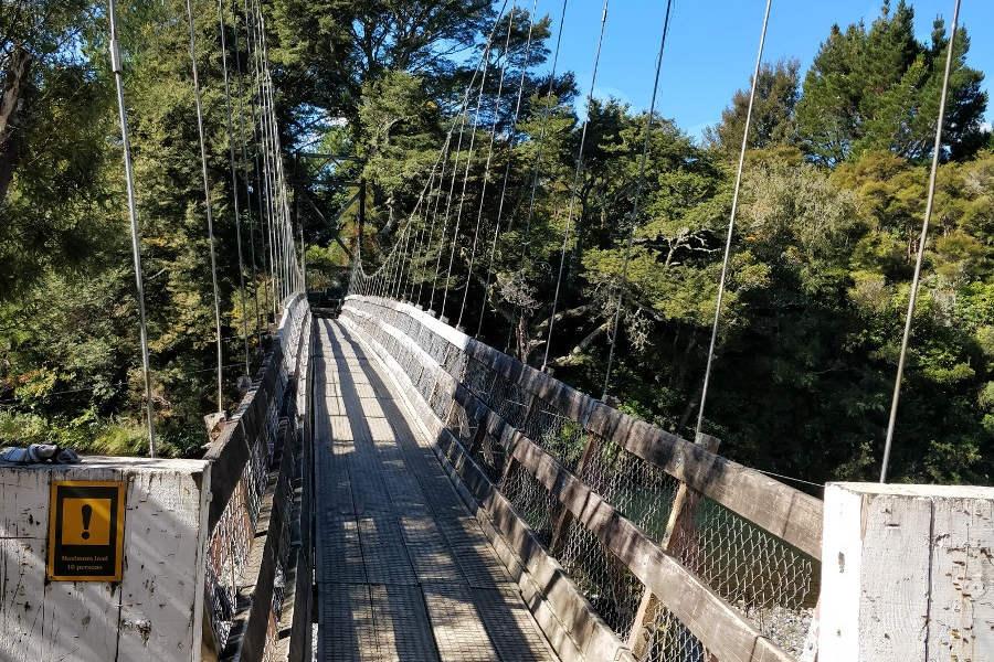 Turangi River Walk swing bridge, New Zealand