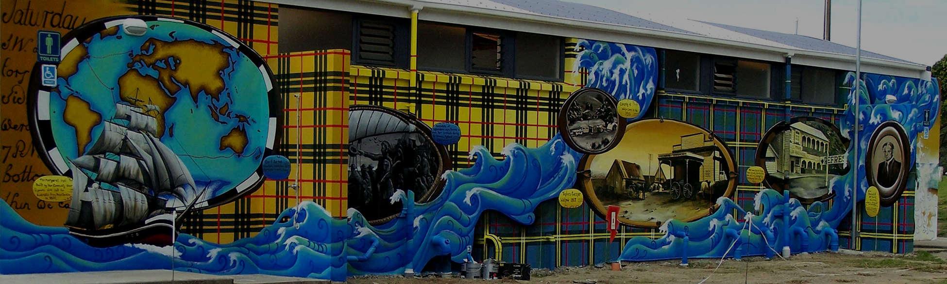Waipu Cove Murals toilets @Dan Mills Paintings