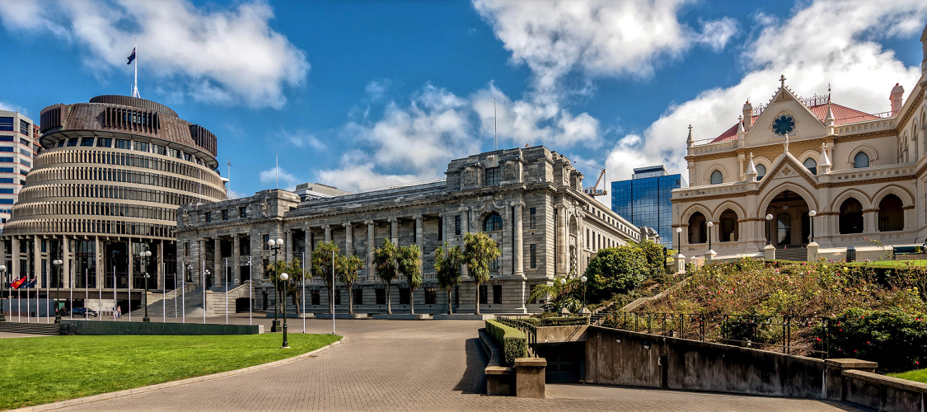 Executive Wing of the New Zealand Parliament Buildings located at the corner of Molesworth Street and Lambton Quay, Wellington,New Zealand