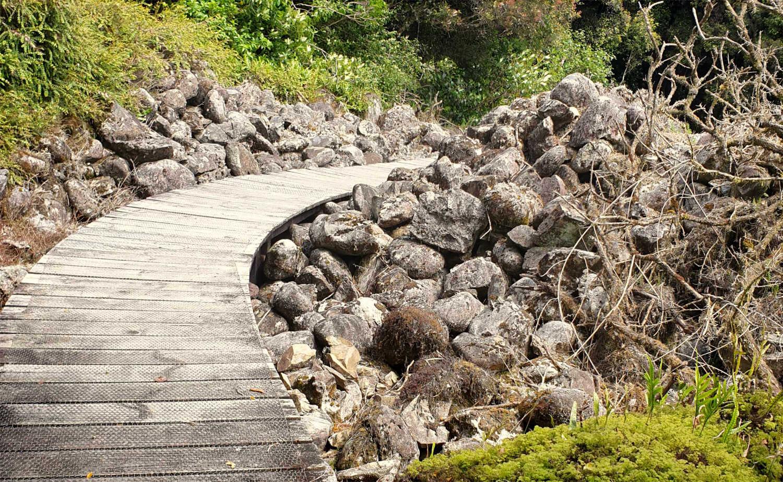 Boardwalk past tailings, gold minining sluiced rock remains, West Coast, Goldsborough,New Zealand