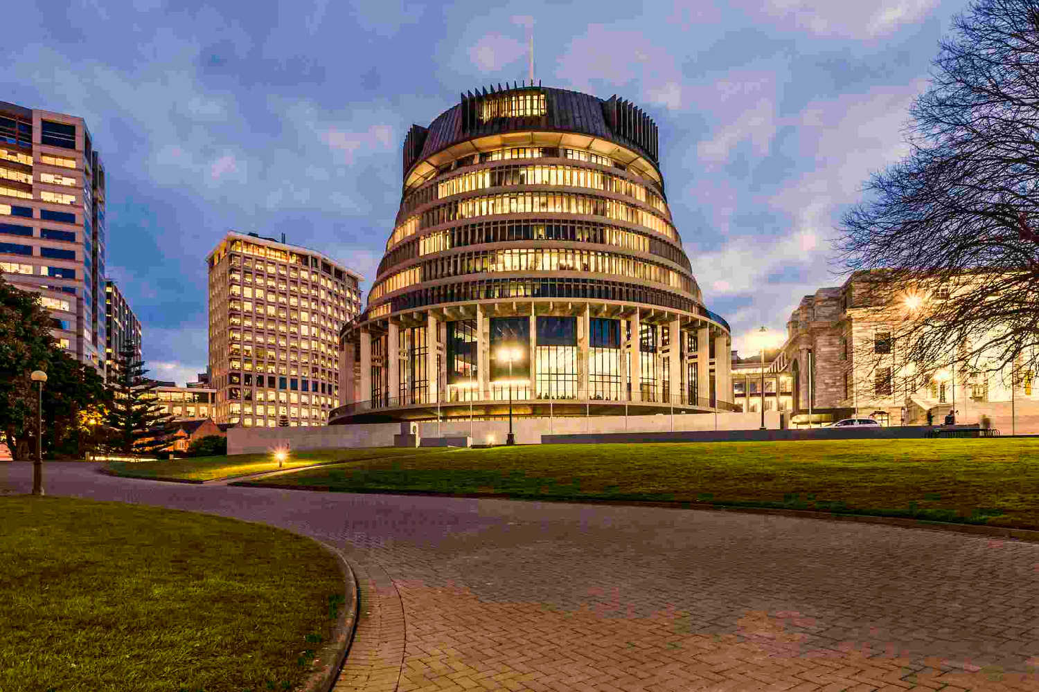 The Beehive, New Zealand's Parliament building, at twilight