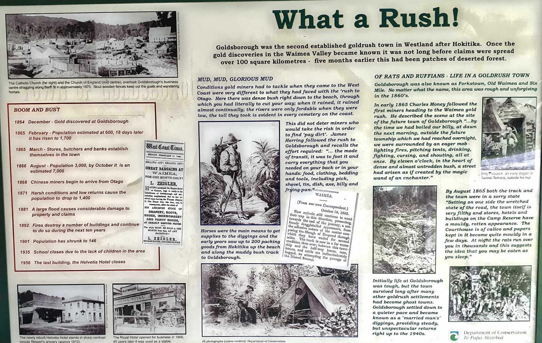 Goldsborough information plaque, West Coast, South Island,New Zealand