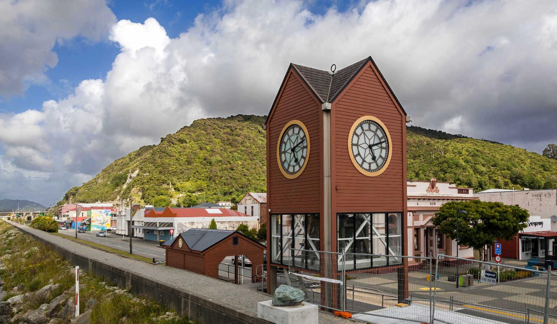Greymouth Clock tower at Mawhera Quay, West Coast, Greymouth,New Zealand