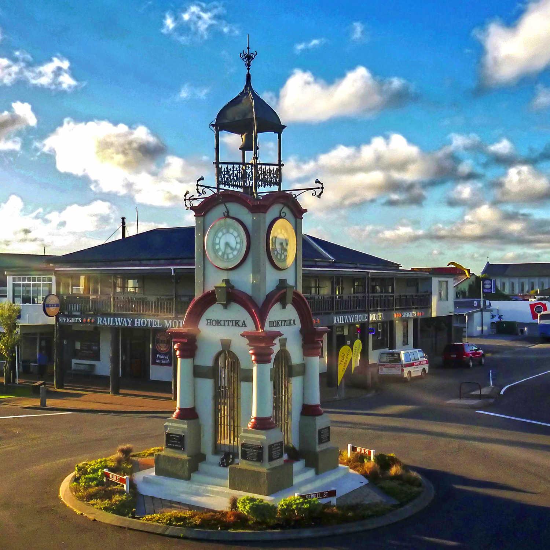Hokitika's clock tower, West Coast,New Zealand