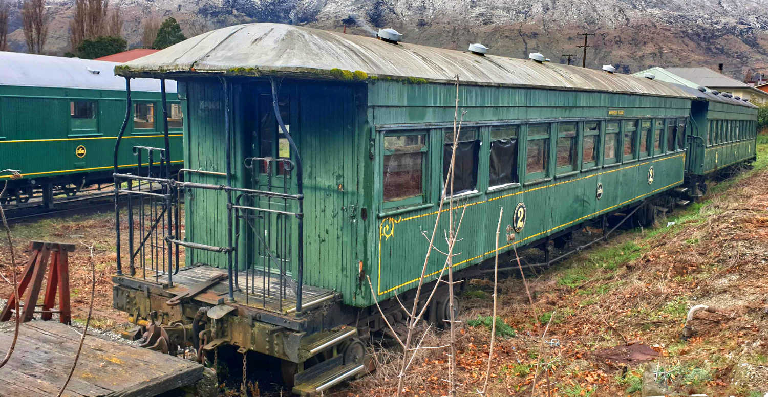 Kingston Flyer passenger carriages, stored and waiting refurnishment, Kingston,New Zealand