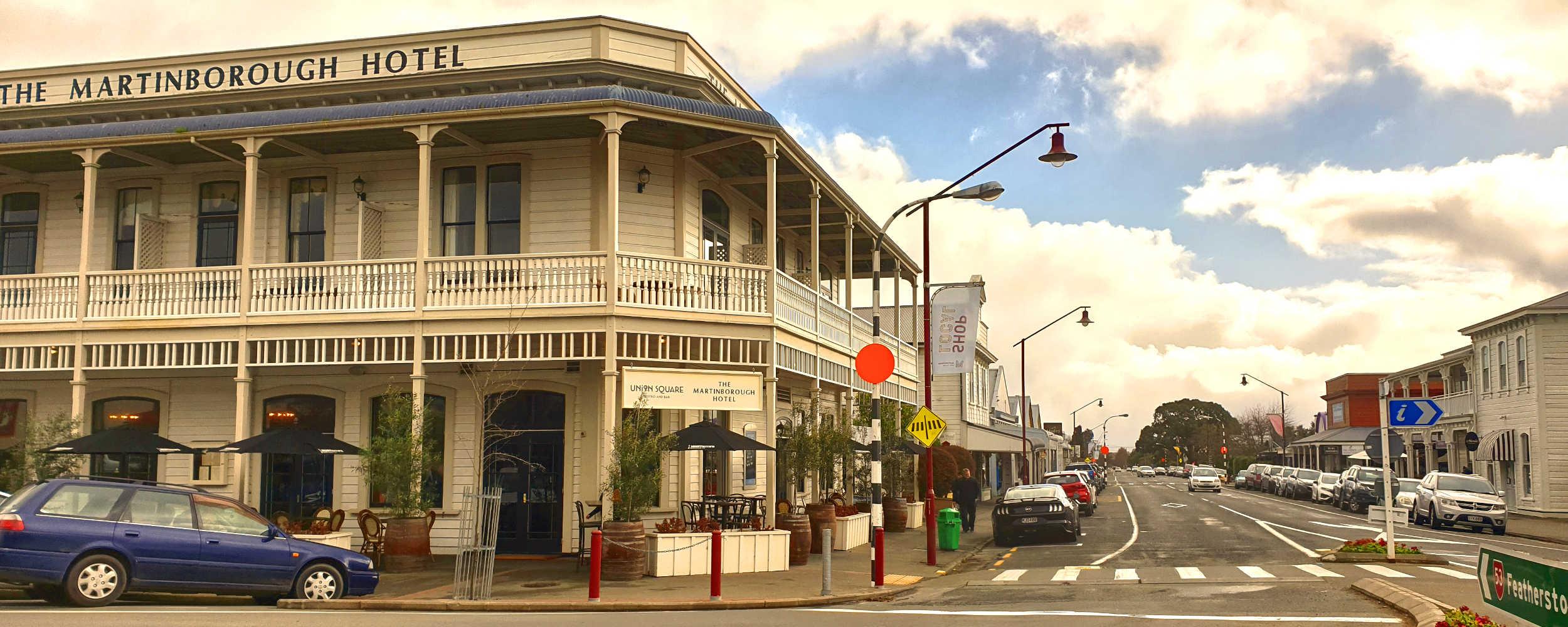 Martinborough Hotel and main street,New Zealand