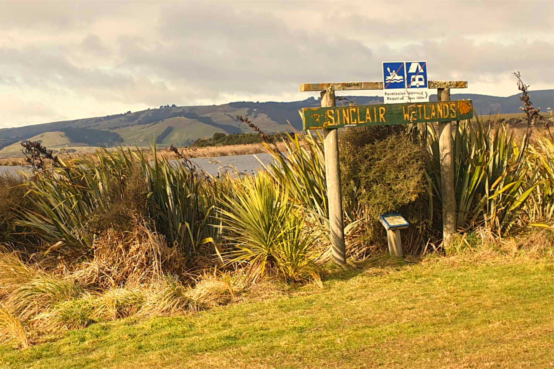 Otago Sinclair Wetlands signage,New Zealand