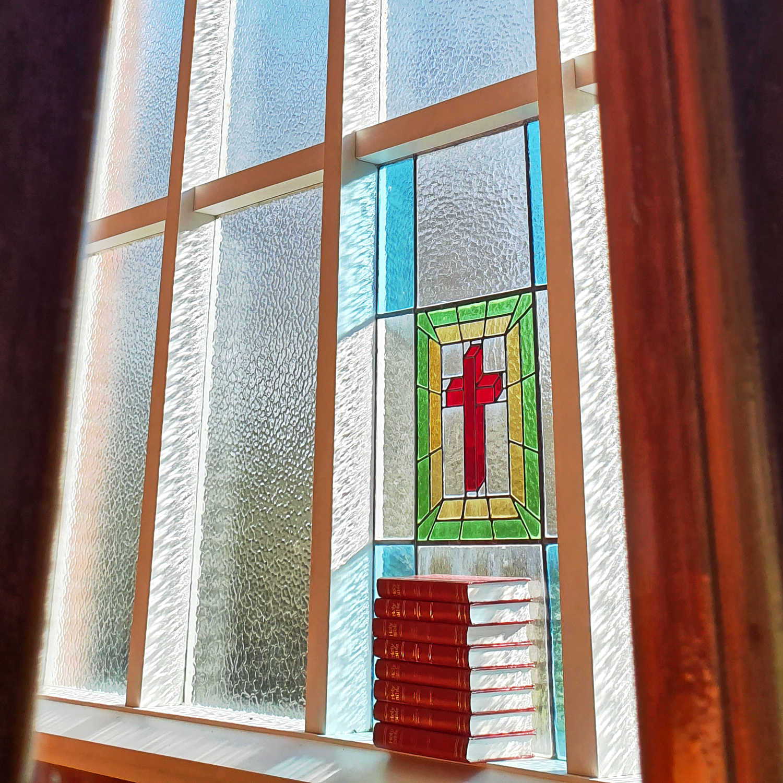 Salvation Army chapel window @Rotoroa Island