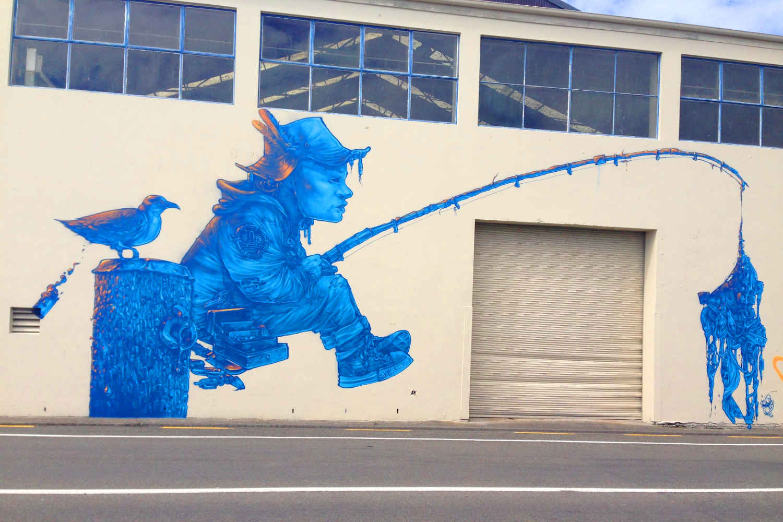 Street art in Napier Seawalls project @2SewTextiles -Brenda Wood