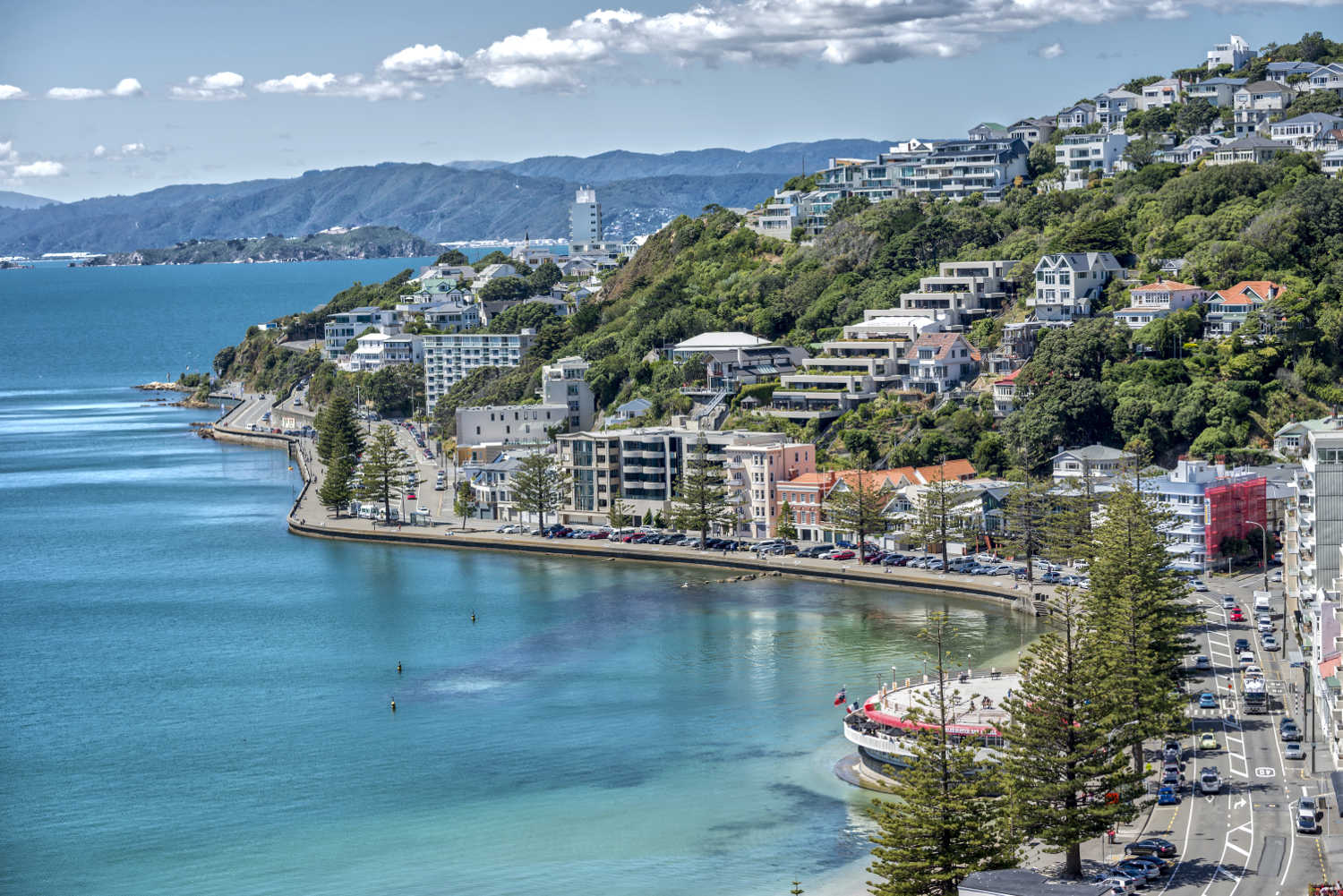 Wellington Harbour with Matiu Island in background,New Zealand