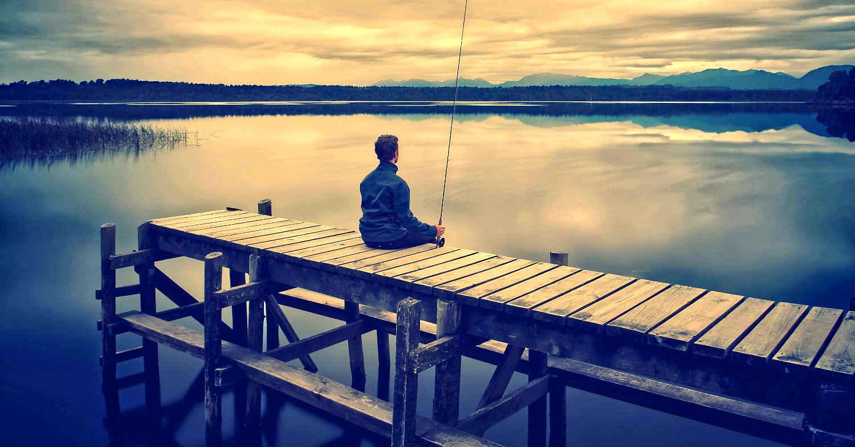 Wharf fishing, Moana, Lake Brunner, West Coast winter sunset