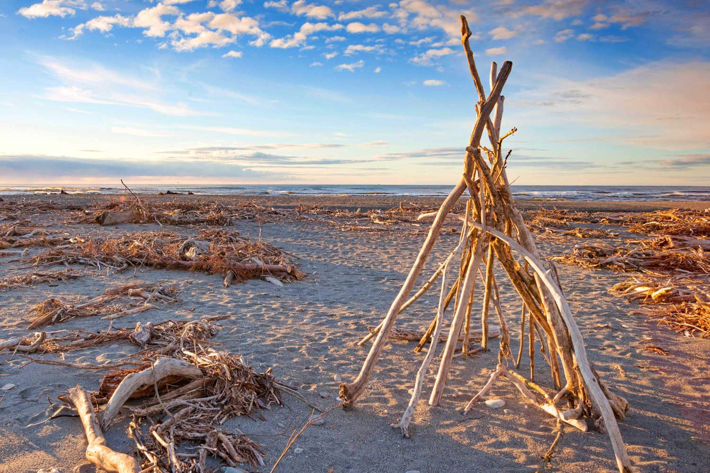 Driftwood on the beach at Hokitika, West Coast, New Zealand