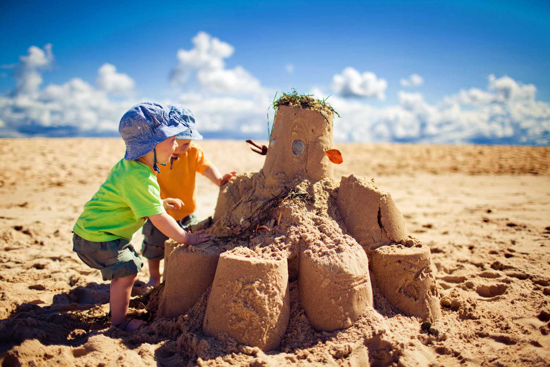 Sandcastle joy at the beach