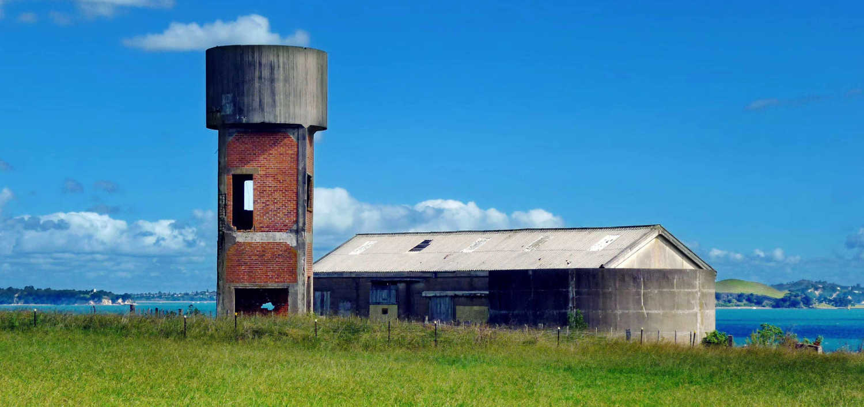 Historic water tower on Motuihe Island, Hauraki Gulf, Auckland
